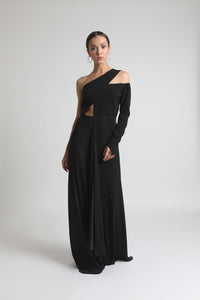 Black Asymmetrical Neckline Dress - Bhaavya Bhatnagar