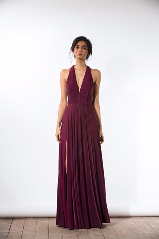 Wine V-Neck Gown