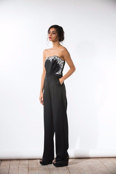 Black White Beaded Jumpsuit - Bhaavya Bhatnagar