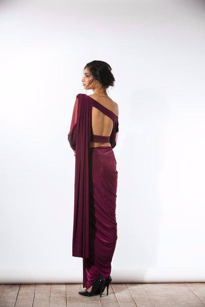 Wine One-Shouldered Concept Sari - Bhaavya Bhatnagar