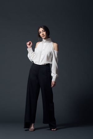Ivory Cold-Shoulder Shirt - Bhaavya Bhatnagar
