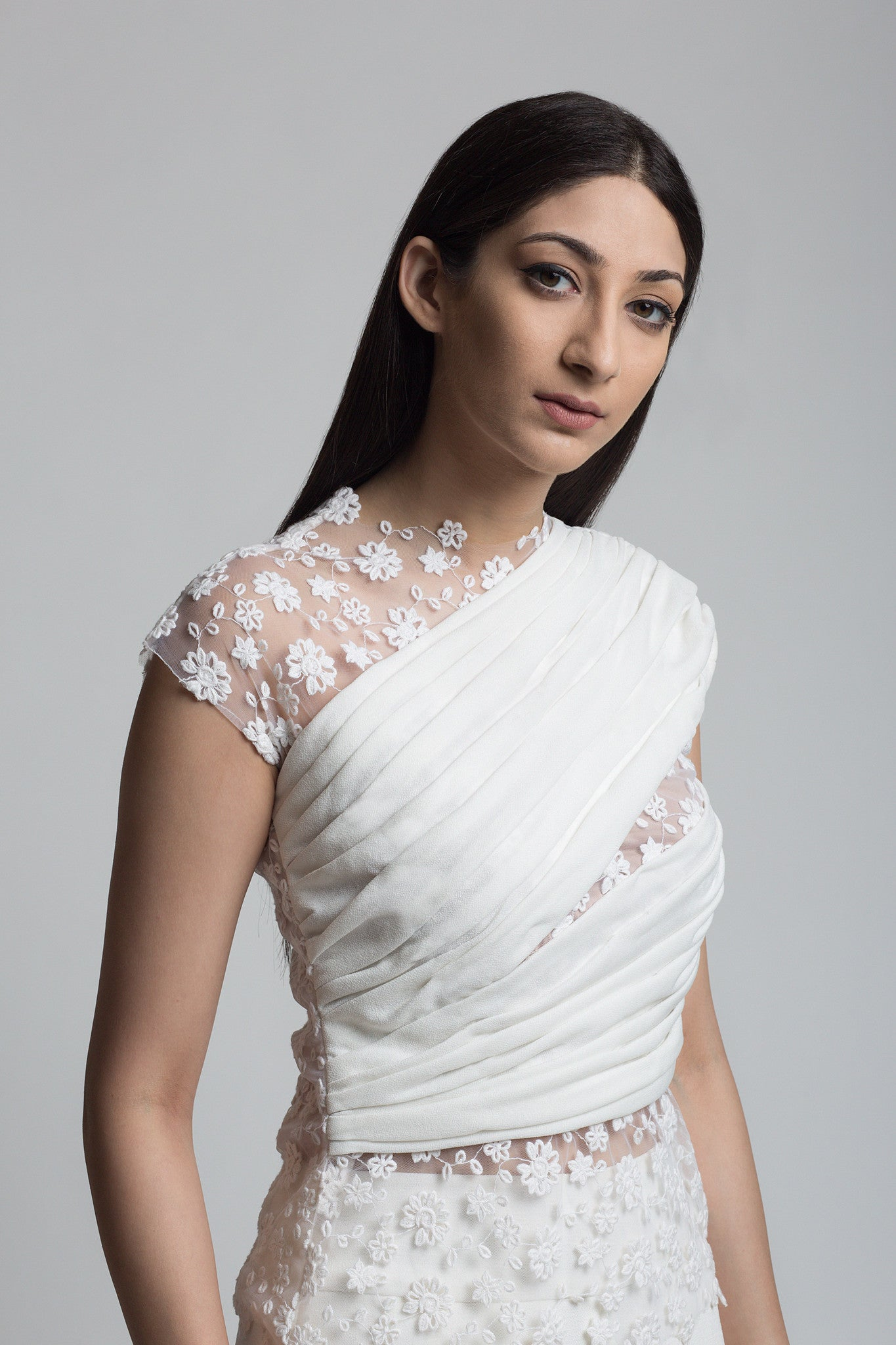 Ivory Floral Embroidered Draped Blouse - Bhaavya Bhatnagar