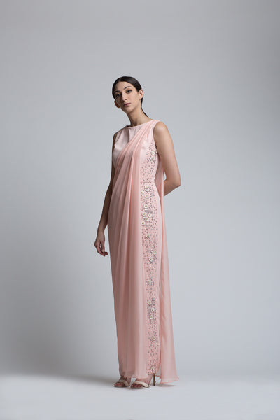 Blush Jumpsuit with a Detachable Drape - Bhaavya Bhatnagar