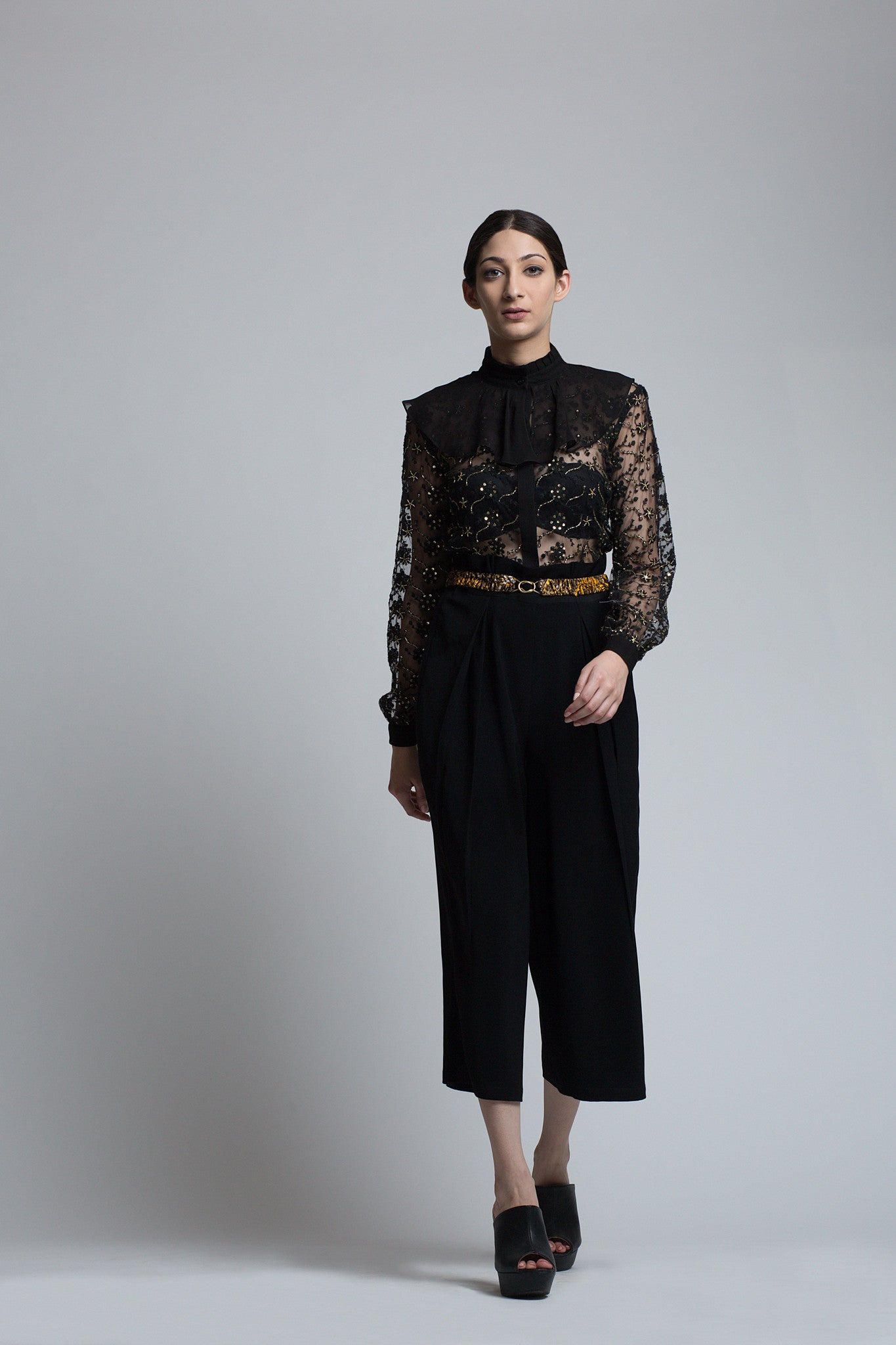Black Floral Embroidered Shirt - Bhaavya Bhatnagar