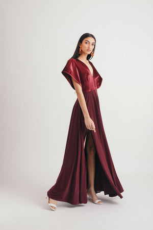 Wine Unfold Dress - Bhaavya Bhatnagar