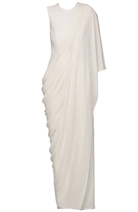 Ivory Draped Jumpsuit Sari