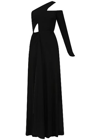 Black Asymmetrical Neckline Dress