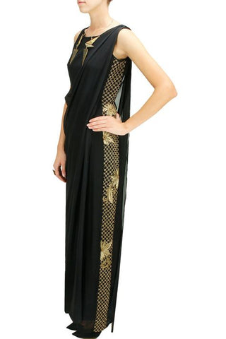 Black Jumpsuit with a Detachable Drape