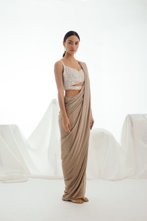 Glistening Snow Dusty Rose Gold Skirt Sari Set - Bhaavya Bhatnagar