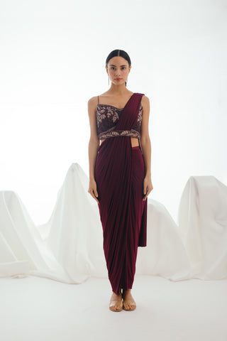 Wine Twilight Three Piece Sari Set - Bhaavya Bhatnagar