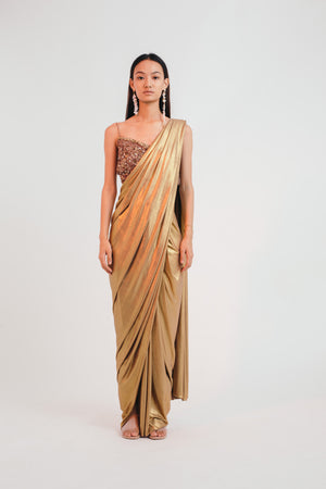 Golden Hour Three Piece Sari Set - Bhaavya Bhatnagar
