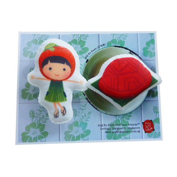 Ang Ku Kueh Girl Brooch Set