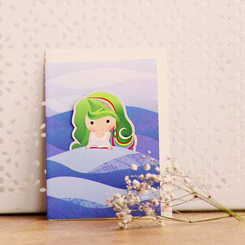 Kueh Lapis Kueh Girl and Mermaid Card with Bookmark
