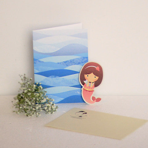Png Kueh Girl and Mermaid Card with Bookmark