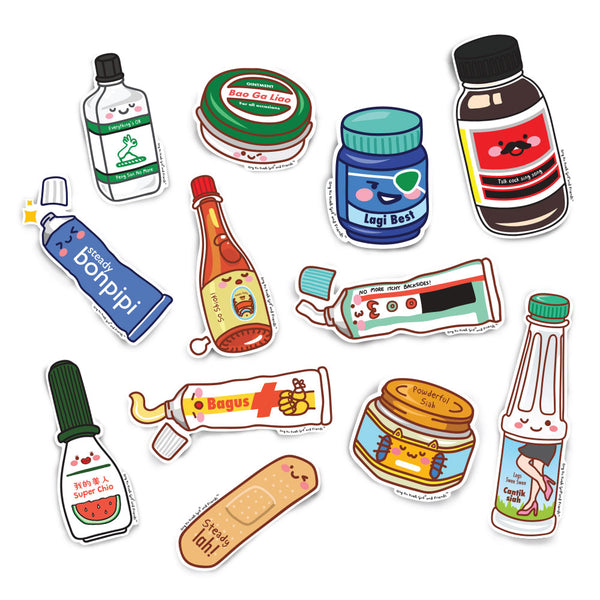 Singlish Home Remedy Kit Stickers