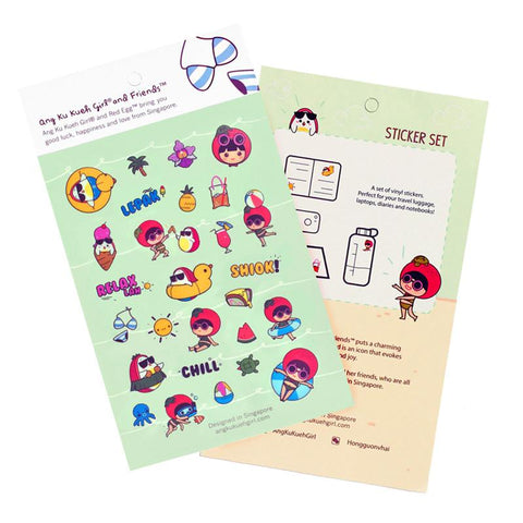 Ang Ku Kueh Girl And Red Egg Travel Series - Sticker Set Stationery