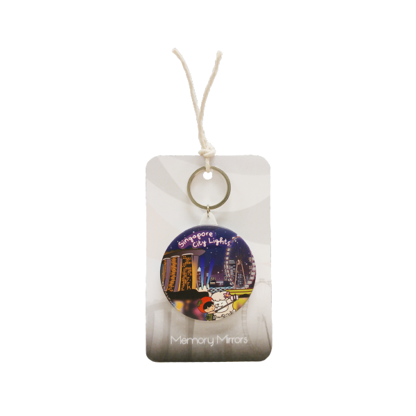 Ang Ku Kueh Girl X Merlion Series: Mirror Keychain (Singapore City Lights)