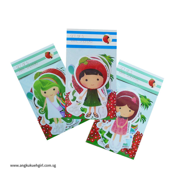 Ang Ku Kueh Girl and Friends Sticker Set of 5