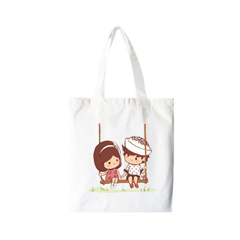 A Teochew Love Story: Tote Bag - Png Kueh Girl & Chwee Kueh Boy (On Swing)