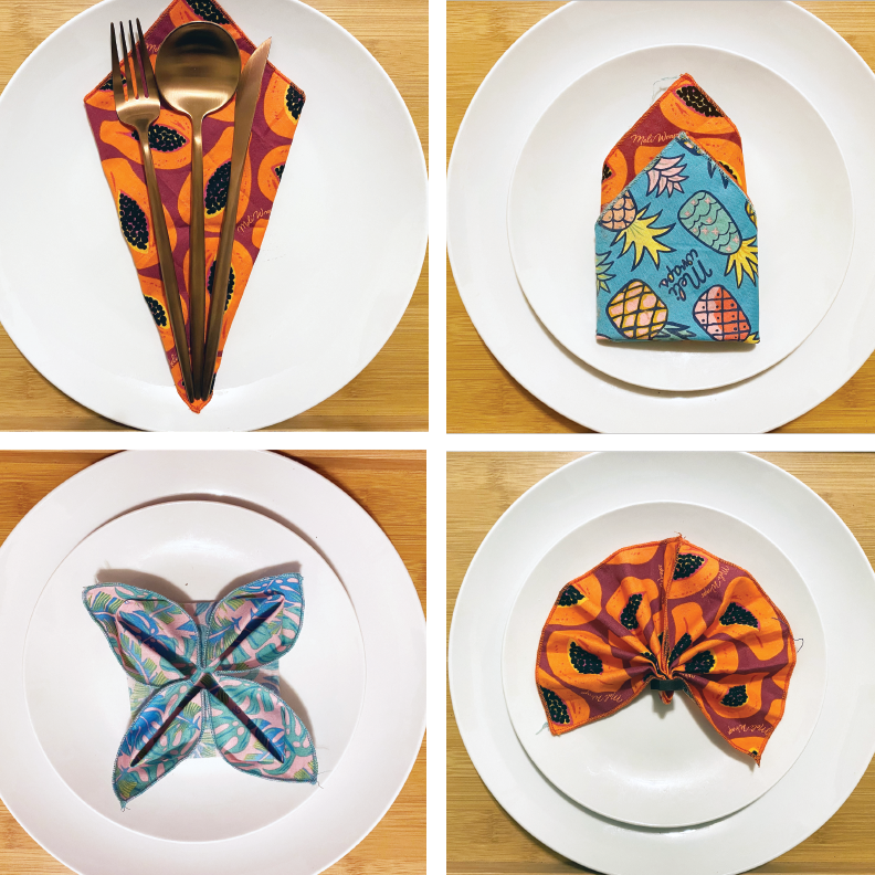 Four Hawaiian Holiday Napkin Folds