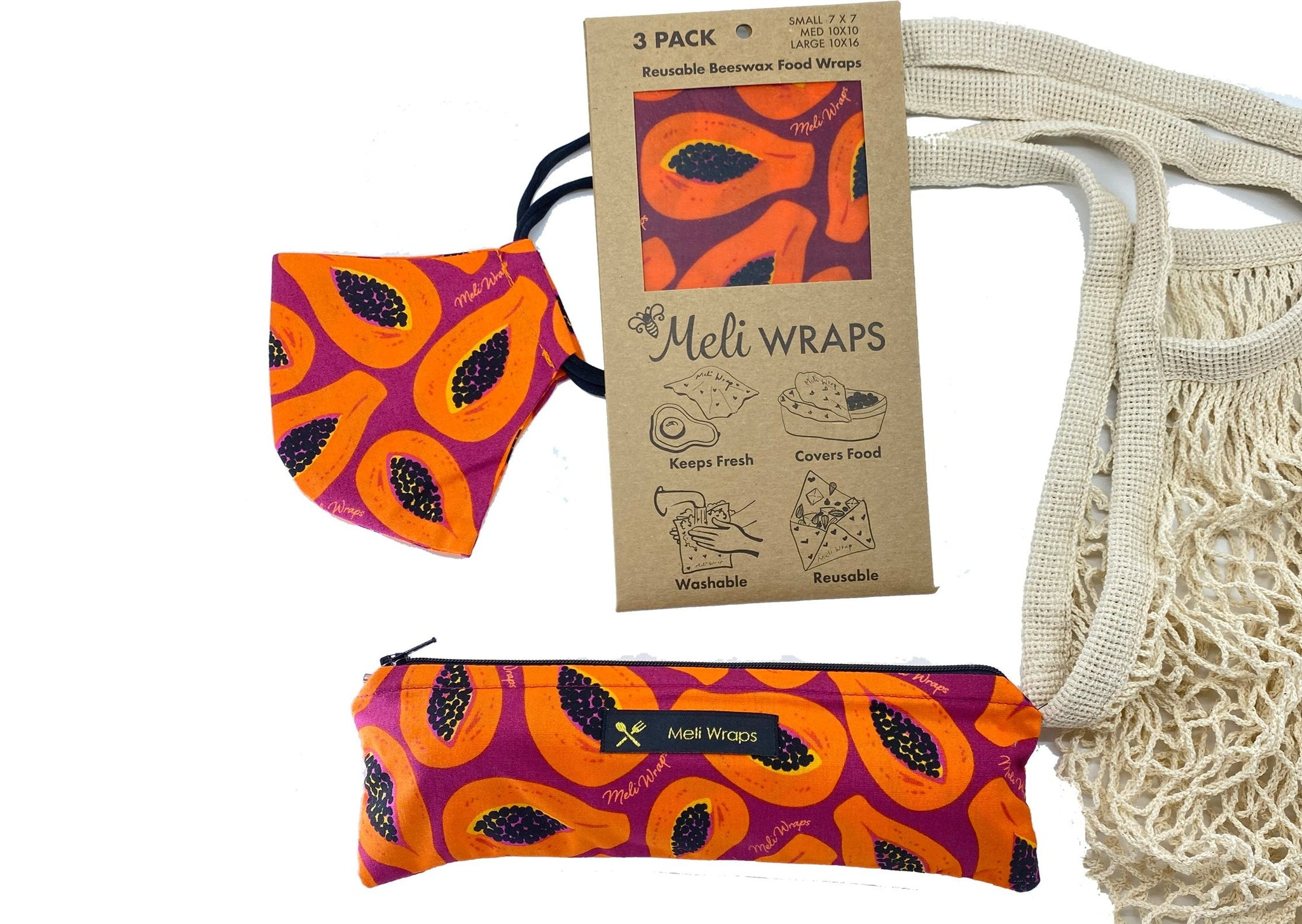 Meli Wraps Care Collection Purple Papaya Care Pack