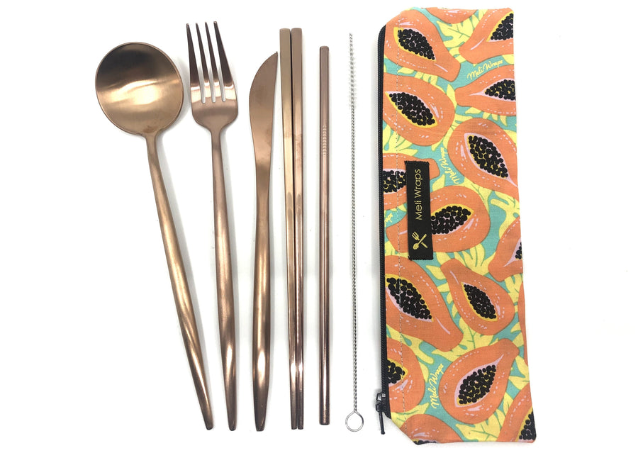Meli Wraps Travel Eco Pack BUNDLE - 2 Tropical Papaya Travel Cutlery Sets