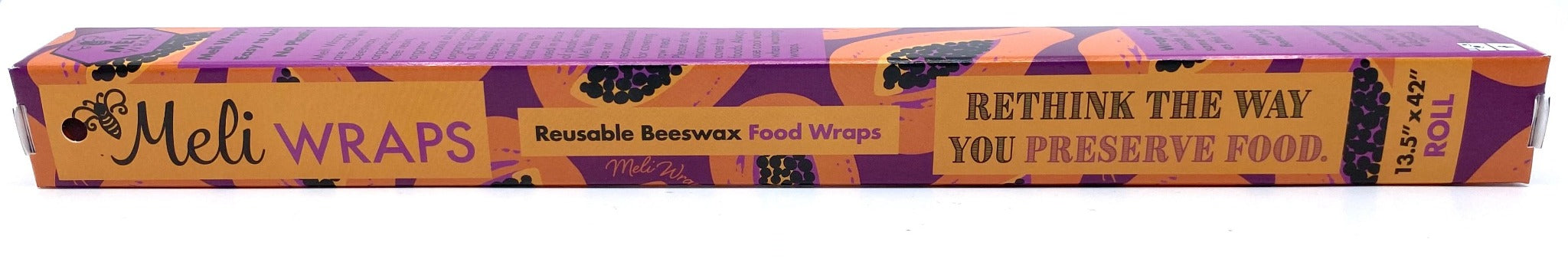 Meli Wraps Beeswax Wraps photo of a bulk roll of beeswax wraps in purple papaya print