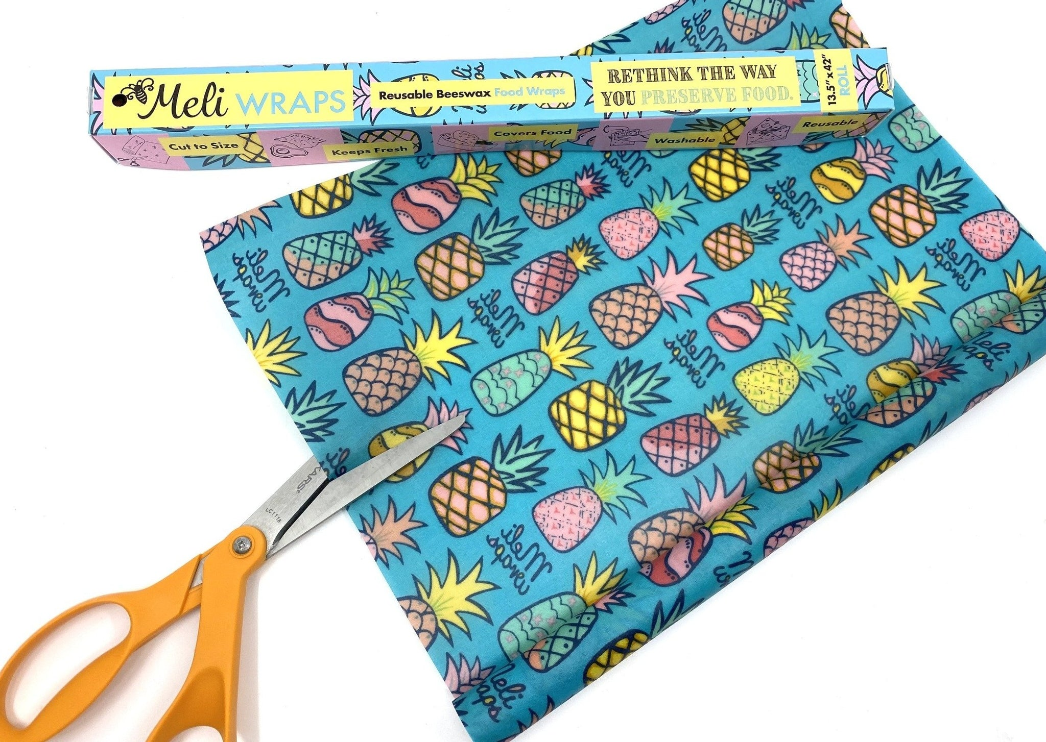 Meli Wraps Bulk Beeswax Roll- Pineapple Print