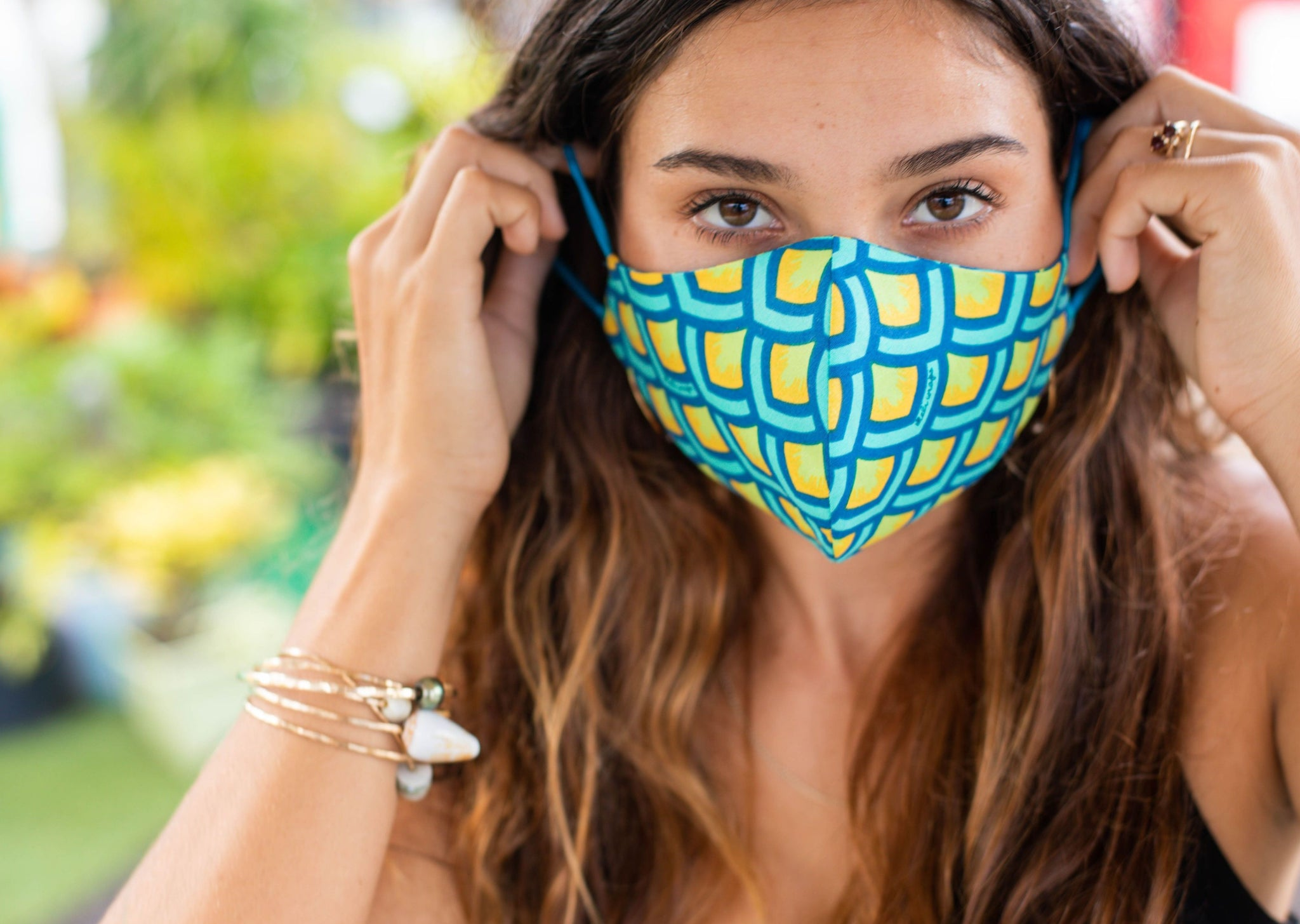 Meli Wraps 100% GOTS Organic Cotton Large Face Mask - Scales Print