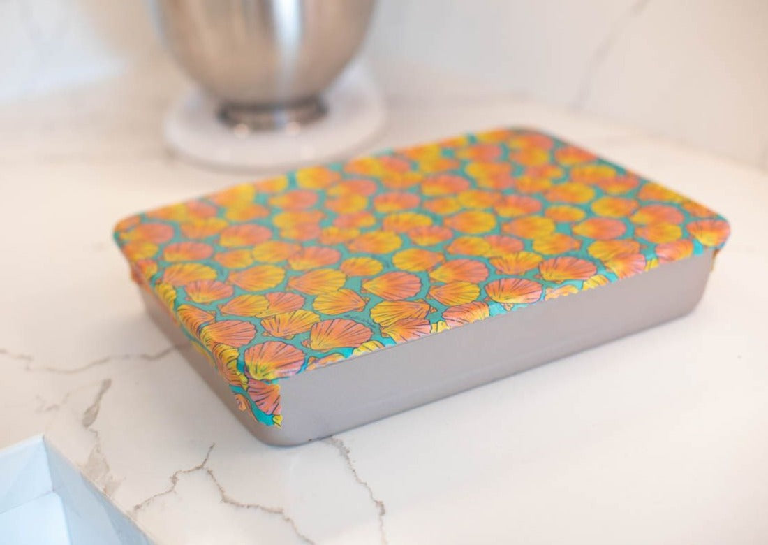 Meli Wraps Reusable Beeswax Wrap in Sunrise Shell Print