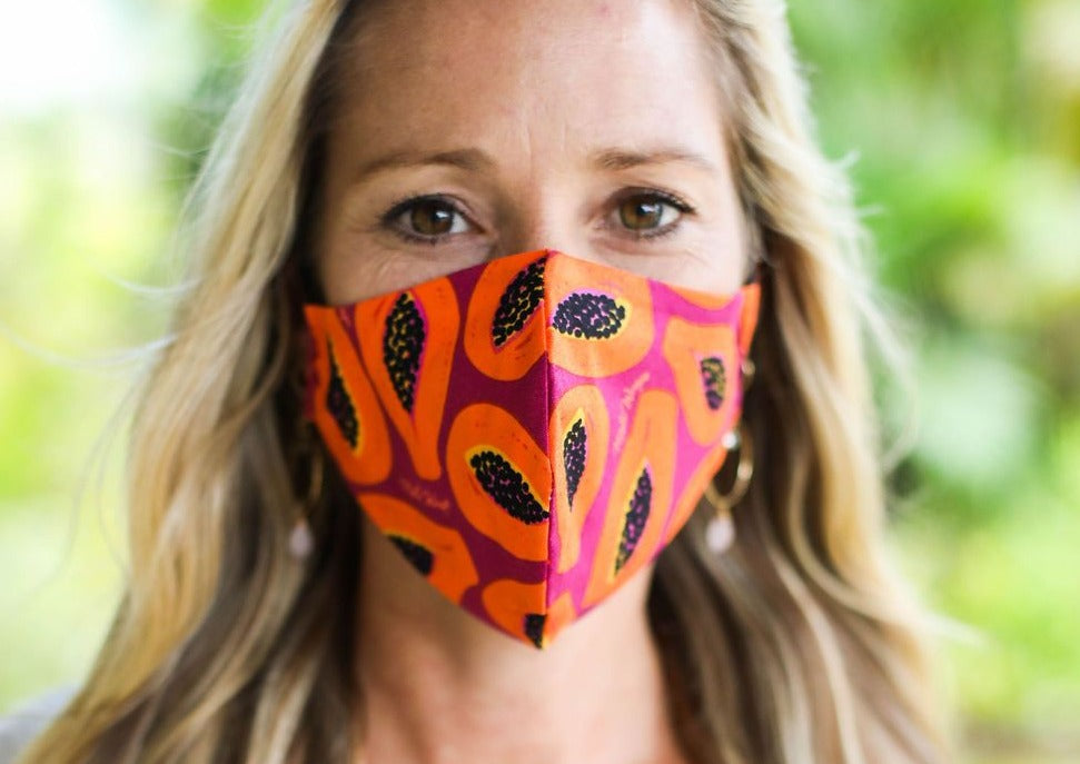 Meli Wraps 100% GOTS Organic Cotton Face Mask - Purple Papaya Print