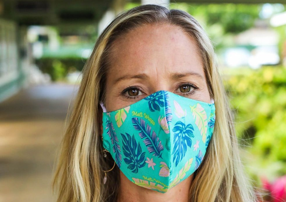 Meli Wraps 100% GOTS Organic Cotton Large Face Mask - Lau Print