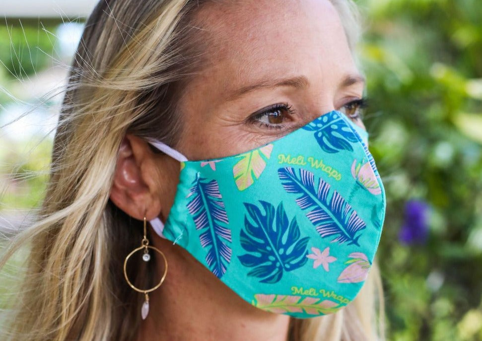 Meli Wraps 100% GOTS Organic Cotton Face Mask - Lau Print