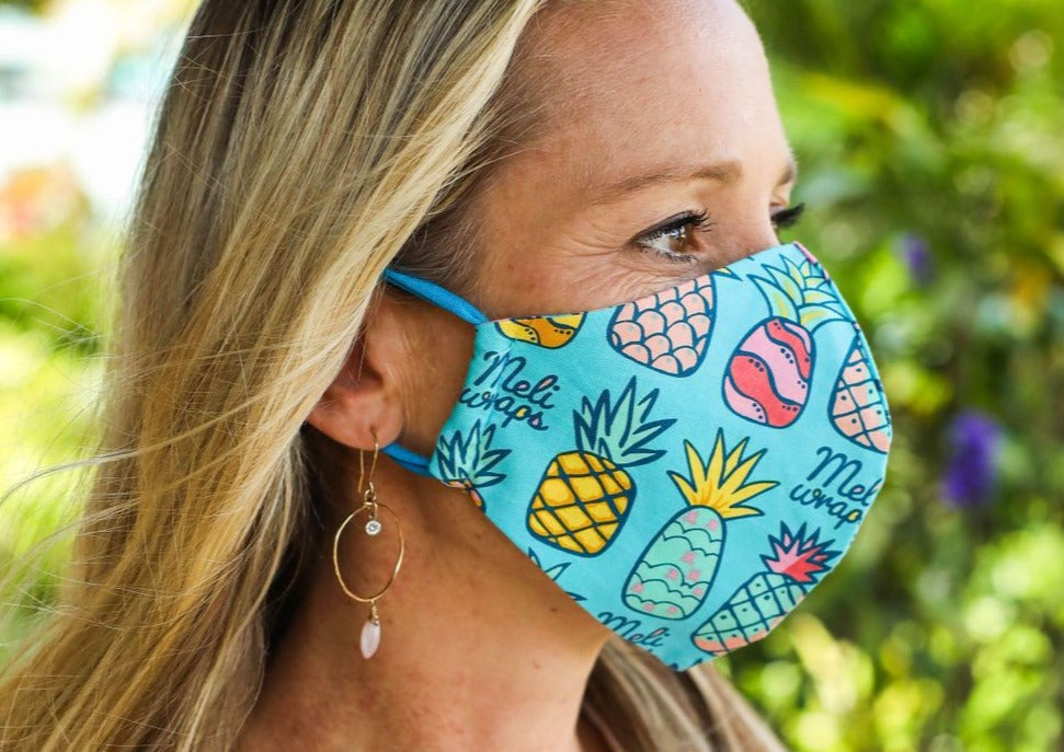 100 % GOTS Organic Cotton Face Mask in Pineapple print