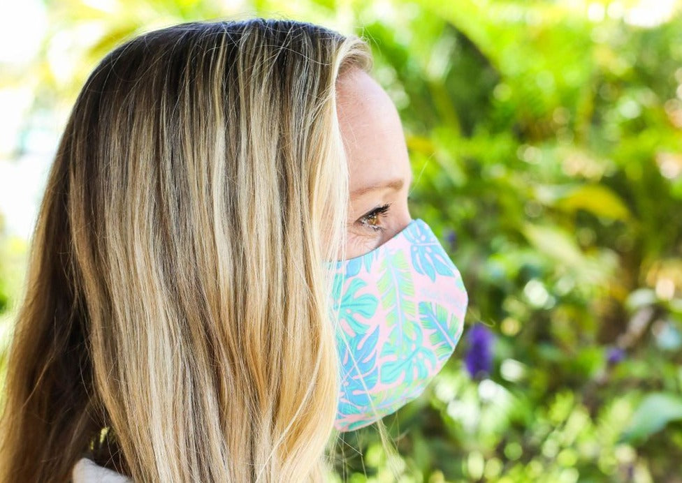 Meli Wraps 100% GOTS Organic Cotton Large Face Mask - Kahanu Print