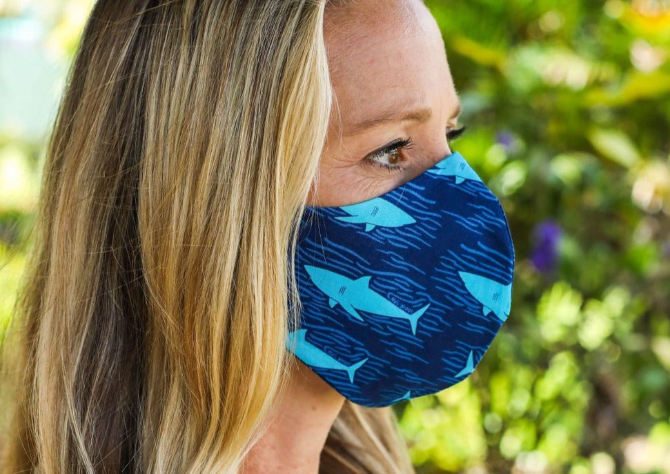 Meli Wraps 100% GOTS Organic Cotton Face Mask - Shark Print