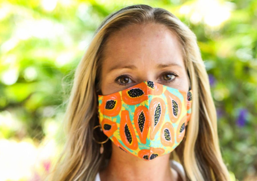 Meli Wraps 100% GOTS Organic Cotton Face Mask - Tropical Papaya Print