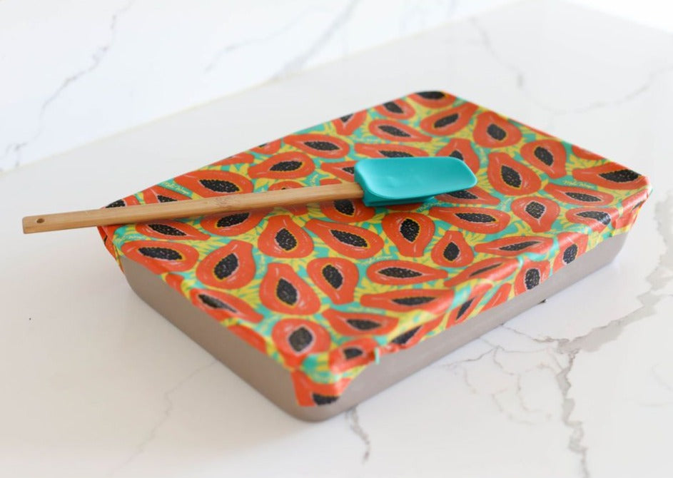 Meli Wraps Beeswax Wraps photo of a bulk roll of beeswax wraps in tropical papaya print