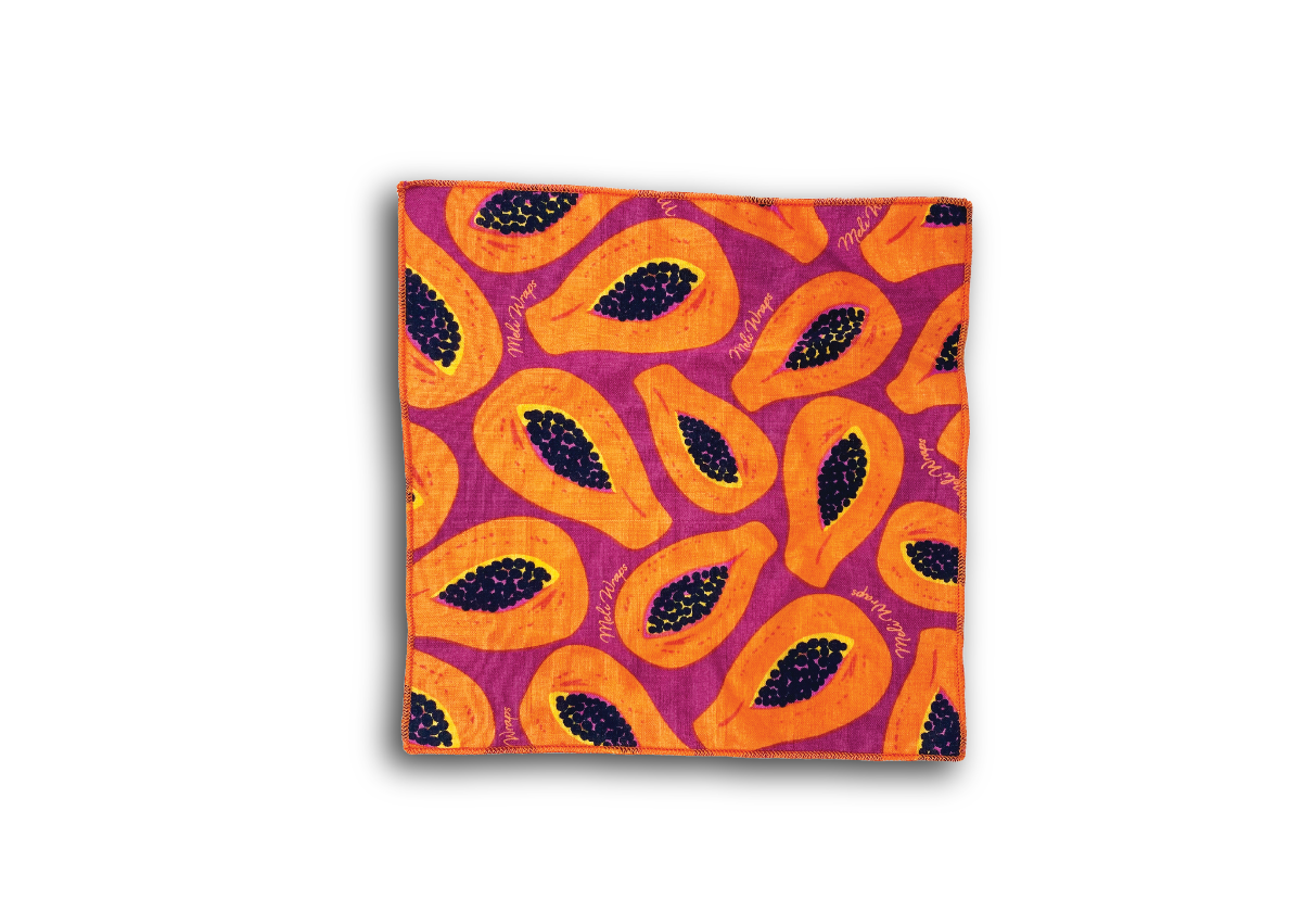Meli Wraps Organic Cotton Reusable  Napkin - Purple Papaya Print