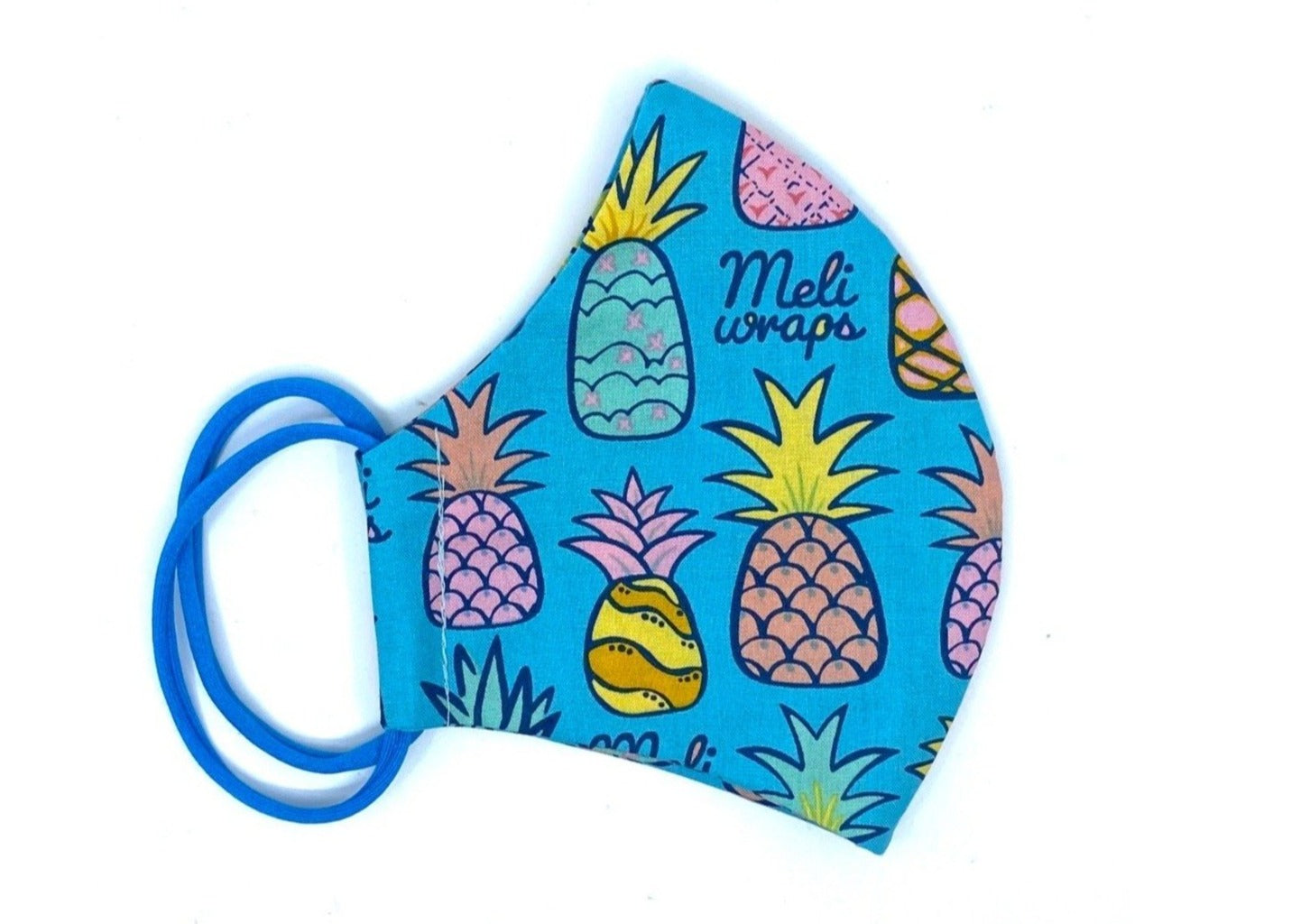 Meli Wraps 100% GOTS Organic Cotton Face Mask - Pineapple print