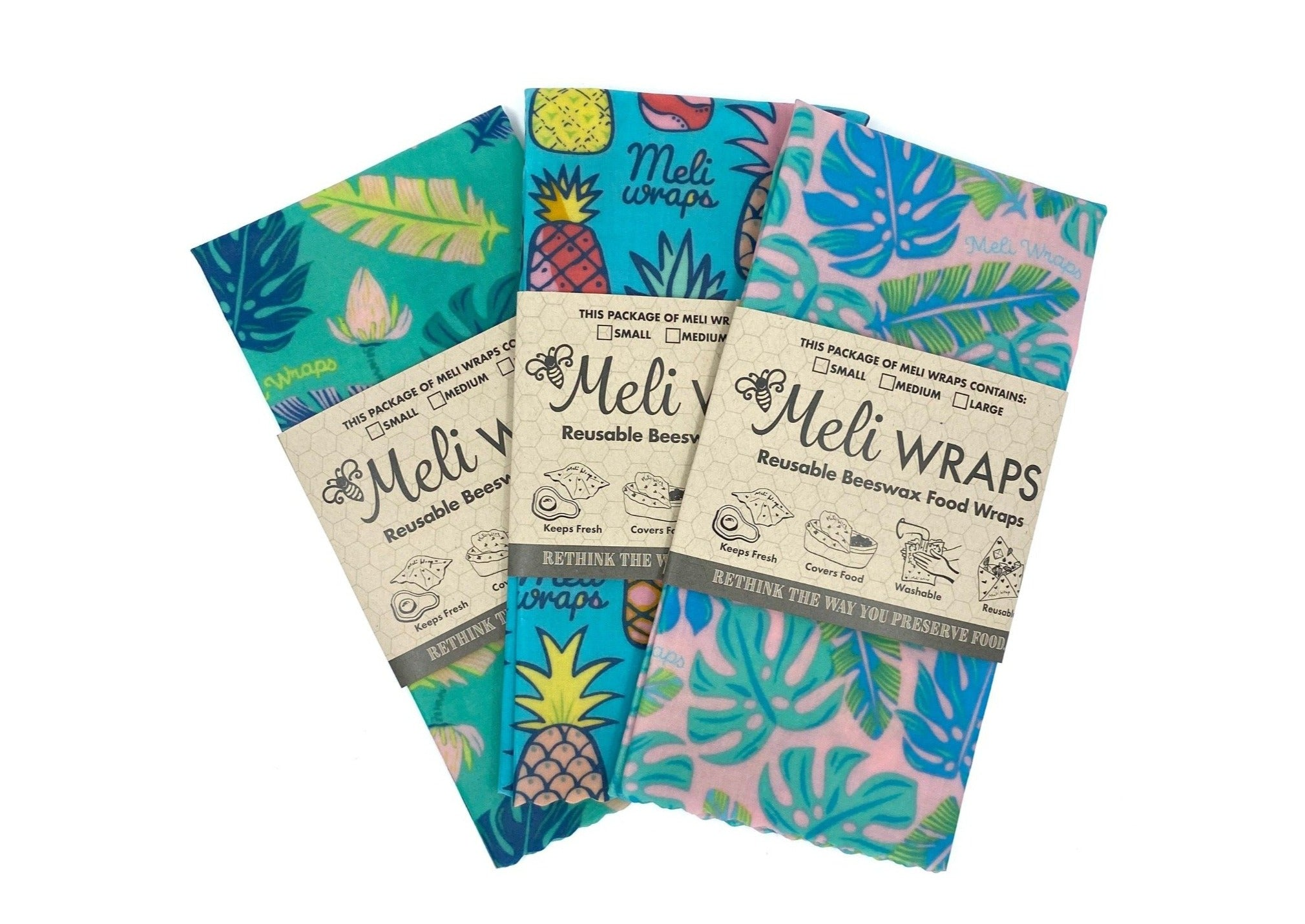 Meli Wraps® Reusable Beeswax Wrap - Hawaiiana Variety Pack