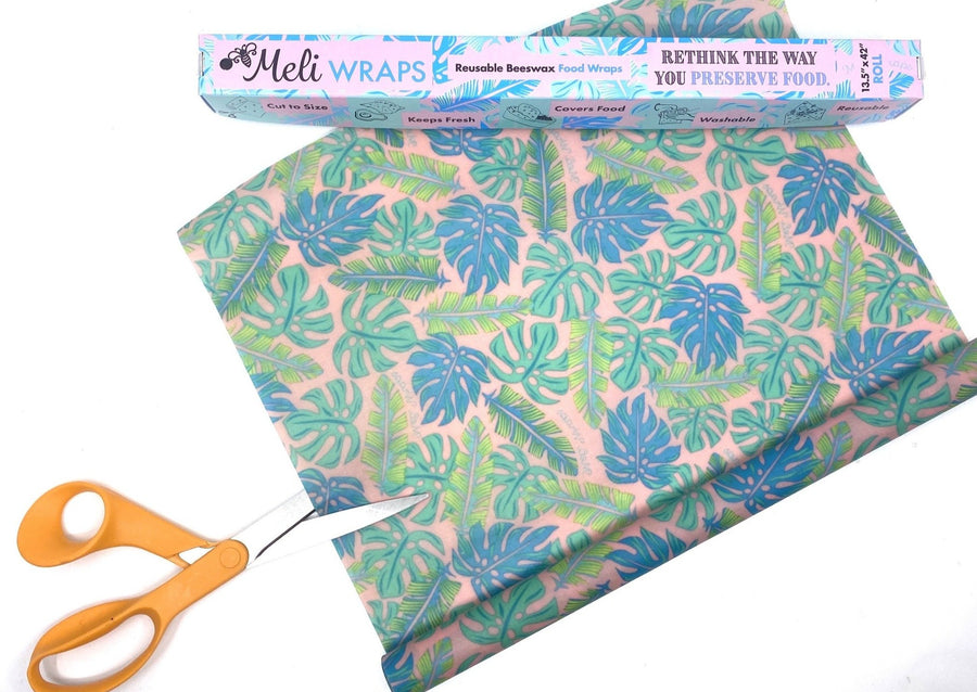 Meli Wraps Beeswax Wraps photo of a bulk roll of beeswax wraps in kahanu print