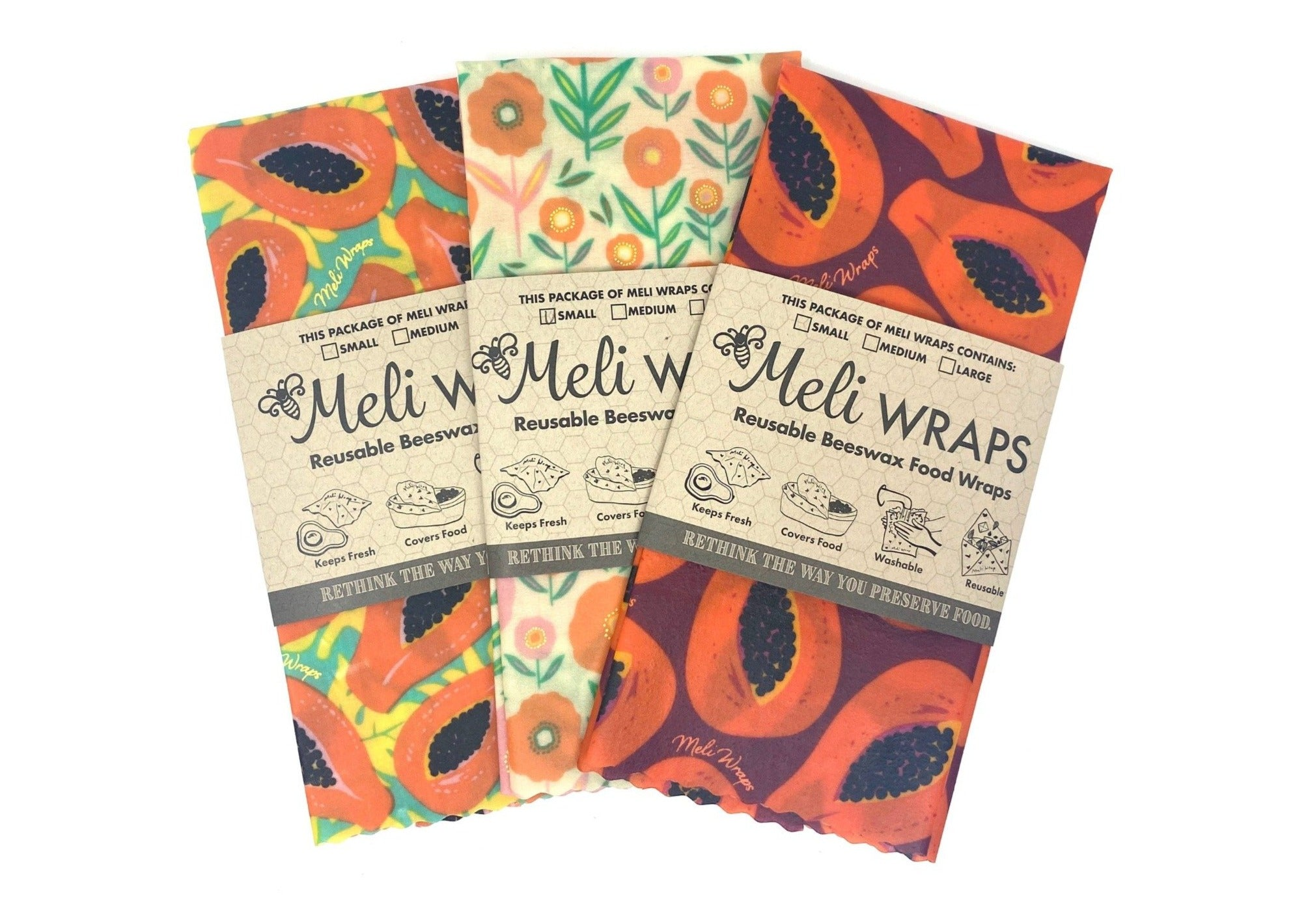 Meli Wraps Reusable Beeswax Wraps - Blooming Papaya Variety Pack