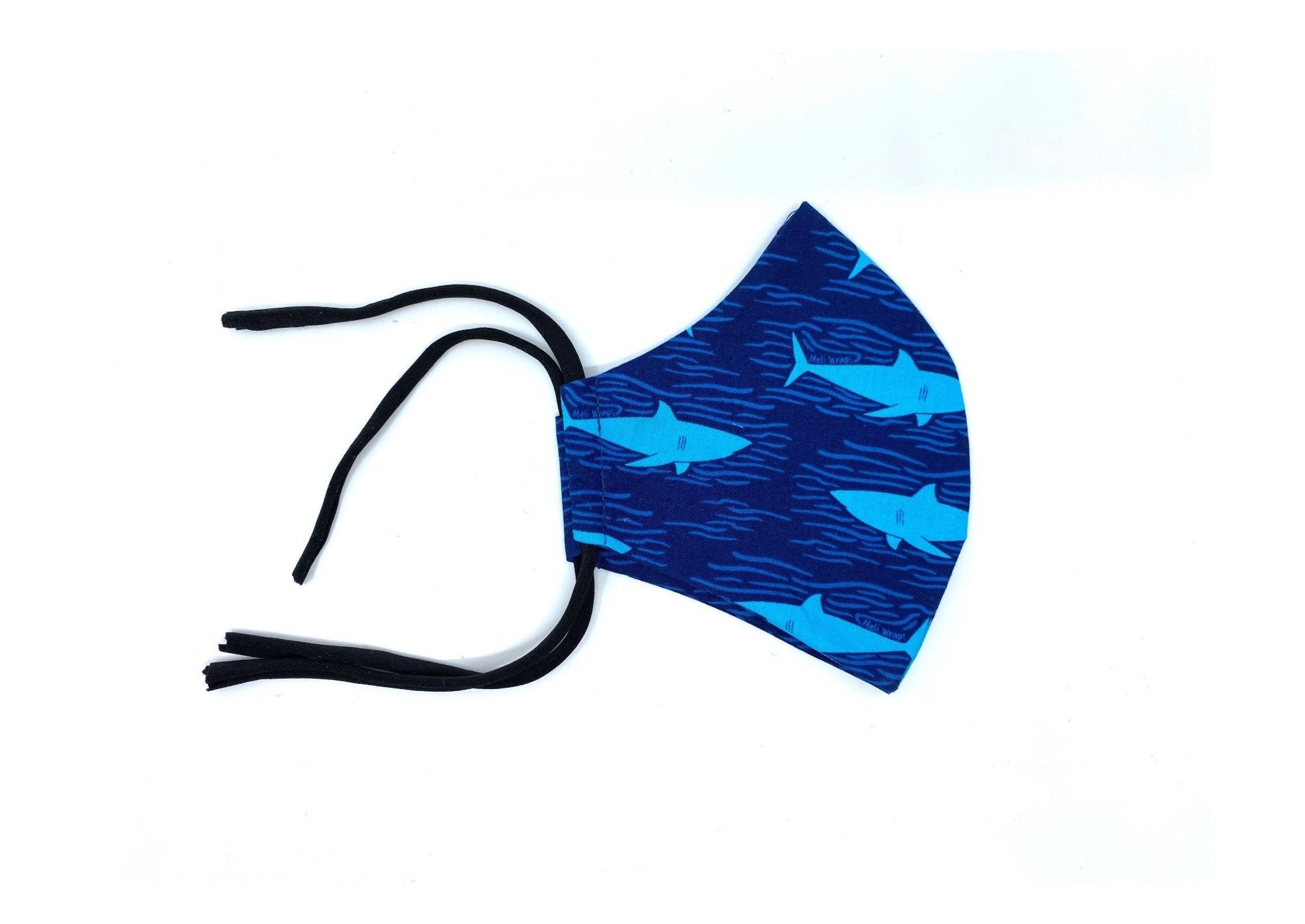 100% GOTS Organic Cotton Face Mask in Shark print