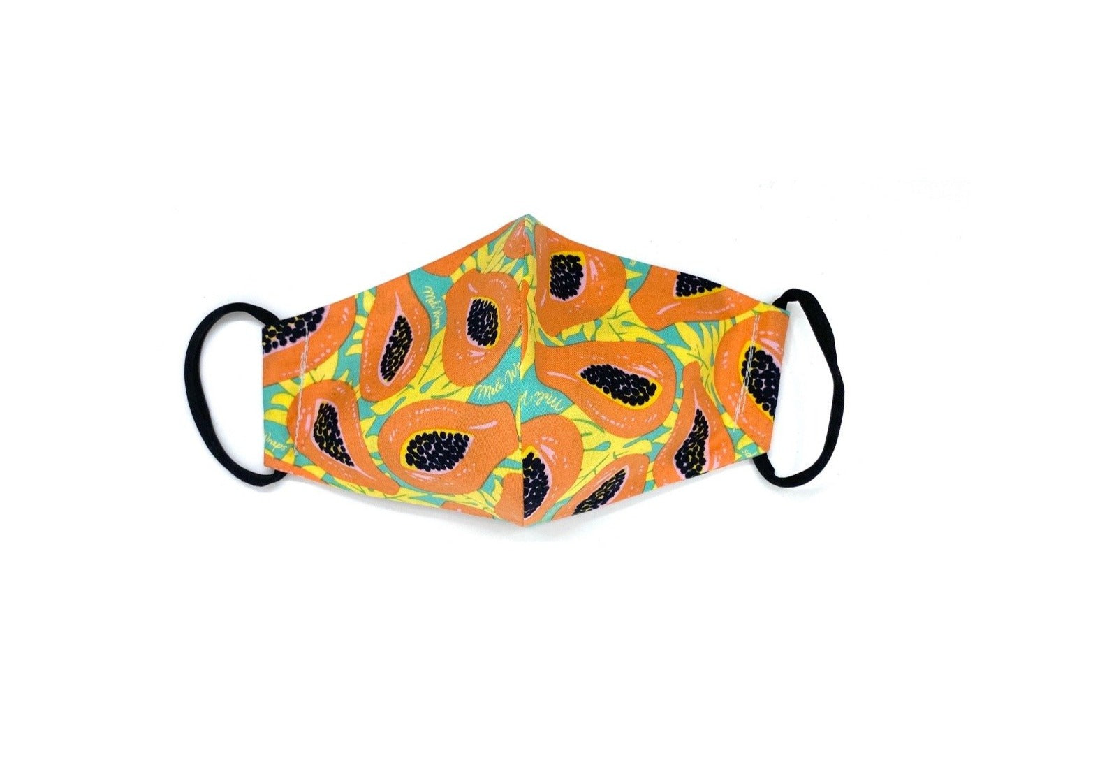 100 % GOTS Organic Cotton Face Mask in Tropical Papaya print