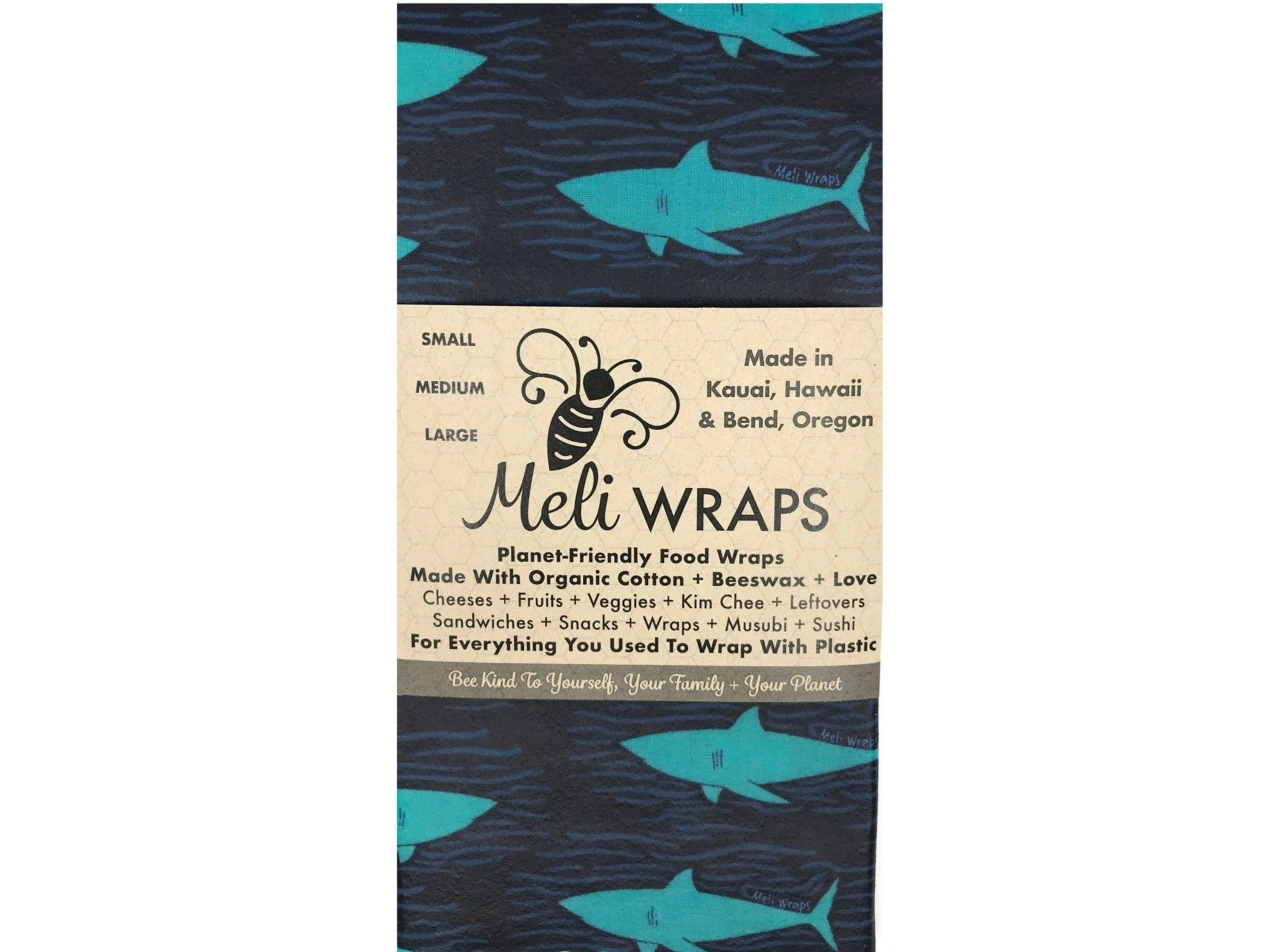 Meli Wraps Reusable Beeswax Wrap - Sharky Shark Print
