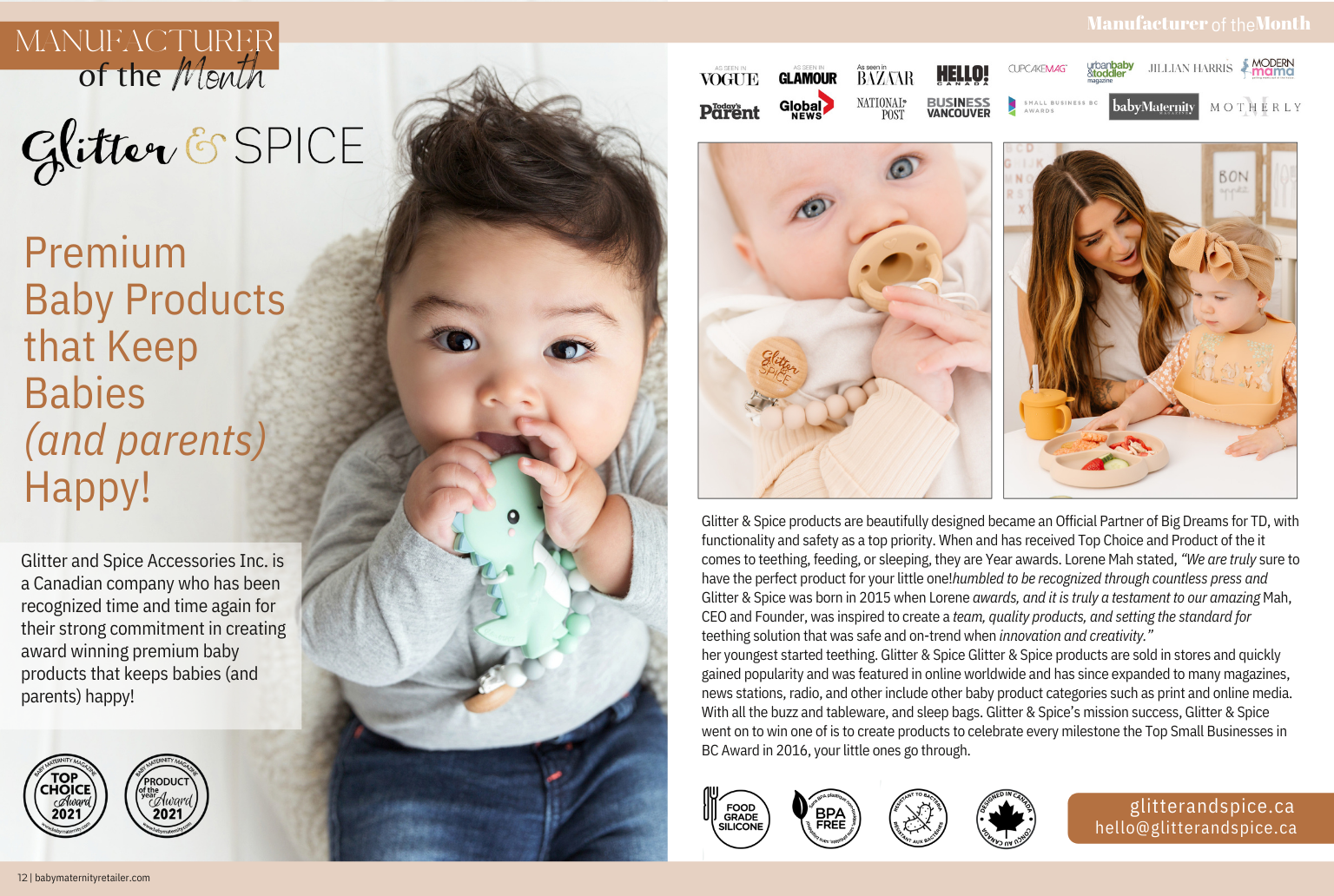 Glitter and Spice Manufacturer of the Month
