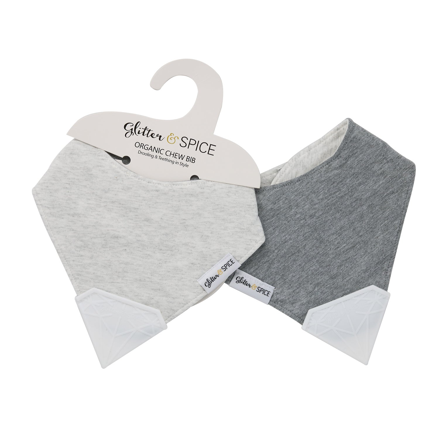 Double Sided Organic Chew Bib - Coal Harbour / Heather Gray - Glitter & Spice Canada