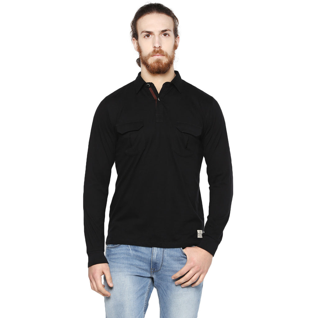 Black t shirt full sleeve with collar - Cult Fiction Black Color Na Full Sleeve Men S Polo T Shirt