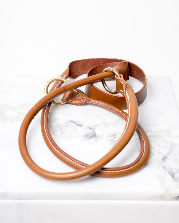 LEATHER YOGA STRAP - DARK HONEY